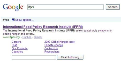 IFPRI entry on google results